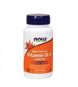 NOW Foods Vitamin D-3 1000 IU - 180kaps.