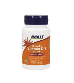 NOW Foods Vitamin D-3 5000 IU - 120tabl. do ssania